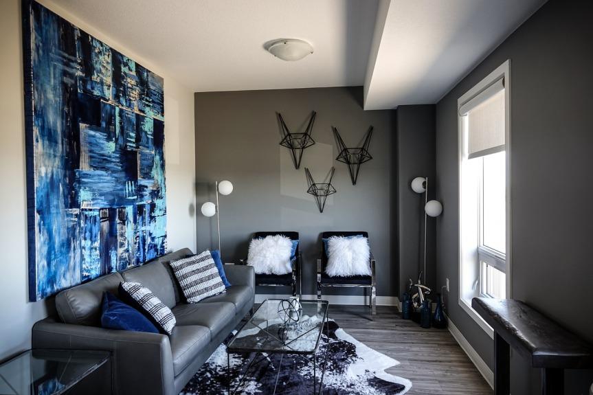 salon avec peinture murale